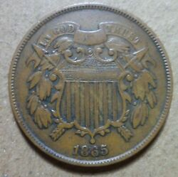 Vf+ 1865 2c Two Cent 1c Nice Higher Grade Rare Tough Estate Collection Penny 197