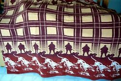 Vintage Reversible Camp Blanket 72x70 - Hunters And Hunting Dogs - Very Good