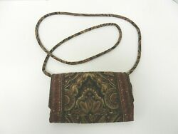 VERA BRADLEY ALL IN ONE CROSSBODY WALLET BROWN BLACK TAN FLORAL $19.95