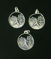 Vintage Sterling Silver Charms Baseball Wrigley Fenway Yankee Stadium Round Open