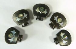 For Banjo Tuner Ebony Wood Button Peg Key Inlay Pattern 5 Pieces Be-in01