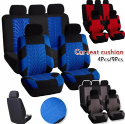 Full Set Tire Tracks Pattern Front Rear Head Rests Auto Suv Truck Seat Cover