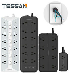 Wall Mountable Surge Protector Power Strip With 3 Usb+flat Plug Extension Cord