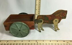 Vintage Wood And Tin Horse And Wagon Pull Toy