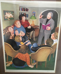 Poetry Reading Beryl Cook Limited Edition Print Rare Number 339 Out Of 850