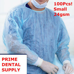 100 Pcs Isolation Gown Medical Dental Blue With Knit Cuff Small 100pcs/case