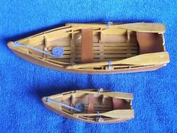 2 Vintage Homemade Masterfully Crafted Wooden Model Rowboats With Oars/2 Sizes