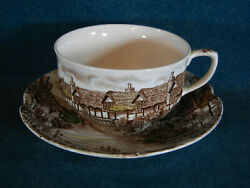 Johnson Brothers Olde English Countryside Brown MultiColor Cup and Saucer Set s
