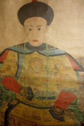 Rare - 1800and039s Wall Scroll - Empress Dowager Cixi - China - Large 5 Foot 8 Inches