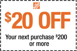 2x Home Depot 2Coupons Discount $2x20 OFF 200 Onlne Only Lightning Delivery