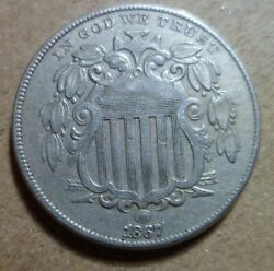 1867 Shield Nickel High Grade Rpd Repunched Date 5c Estate Collector Coin 280