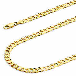 Wellingsale 14k Yellow Gold Solid 6mm Cuban Beveled Chain Necklace