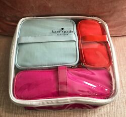 Kate Spade Cosmetic Bag Collection: 3 Bright Cosmetic Bags Clear Carrying Case $48.72