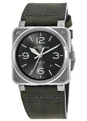 New Bell And Ross Br 03-92 Grey Dial Grey Leather Men's Watch Br0392-gc3-st/sca