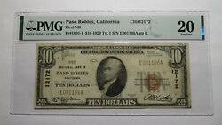 10 1929 Paso Robles California Ca National Currency Bank Note Bill 12172 Vf20