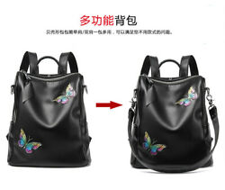 Soft Genuine Leather Backpack Shoulder Handbags Hand-painted Butterfly Women's