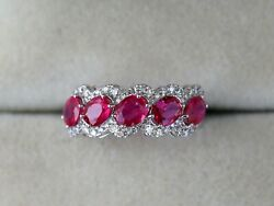 18k White Gold Art Deco 2 Carat Ruby And Diamond Wedding And Engagement Ring