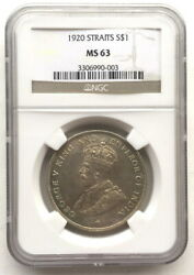 Straits Settlements 1920 Georgia V Dollar Ngc Ms63 Silver Coin,unc003