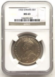 Straits Settlements 1920 Georgia V Dollar Ngc Ms63 Silver Coin,unc002