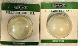 Classic Sport Billiard Cue Ball Official Size Ball 2.25 Lot Of 2 New Ball