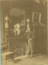 Gustave Eiffel at home tower engineer architect antique photo France