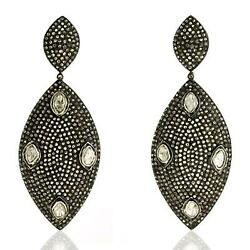 Pave Diamond Marquise Shape Dangle Earrings 18k Gold Sterling Silver Jewelry