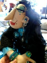 Primitive ,handmade Halloween Doll,gypsy Rose,rings On Her Fingers Jewels On H