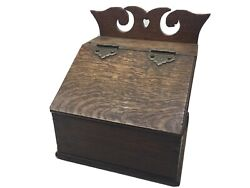 Antique Dovetailed Oak English Salt Or Candle Box With Cutout