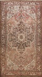 Antique Geometric Faded Heriz Traditional Area Rug Hand-knotted Oriental 8x12 Ft