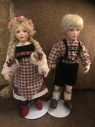 """Hand Made Custom 14"""" Two Musical Porcelain Dolls Made In 1999 Song Edelweiss"""