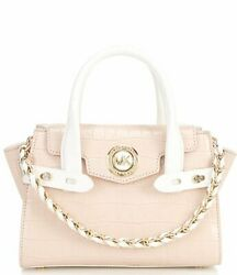 Michael Kors Carmen Extra Small Flap Messenger Leather Pink and White New $179.95