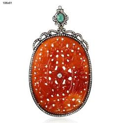 18k Yellow Gold Silver Diamond Carved Natural Agate Emerald Pendant Jewelry