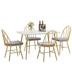 5pcs Marble Dining Table Set 4 Chairs Kitchen Dining Room Breakfast Dinner Nook