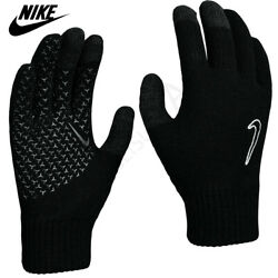 Nike Mens Gloves Knitted Touch Screen Running Sports Winter Warm Adults Black