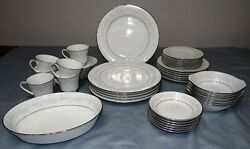6 7-pc Place Settings Noritake Essex 2224 Green/white Floral Excellent
