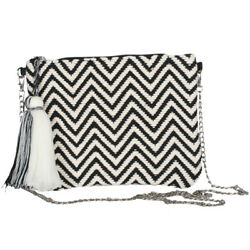 Katydid Clutch Collection Cream Black Chevron Clutch with Chain $24.95