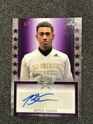 Bryce Young 2020 Leaf Army All-american Purple Tour Auto 1/1 Autograph Alabama