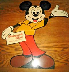 Rare Vintage Mickey Mouse Wood Stand-up Display From Disneyworld Shoes