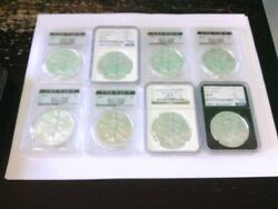 8- U.s. 1 Silver Eagles. Pcgs/ngc Graded Ms-69. 2011-2019. Buy Now