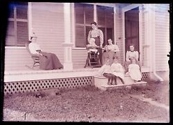 1 Late 1800s, Early 1900s Glass Negative, 4 Woman, 4 Kids, One Dog, Porch