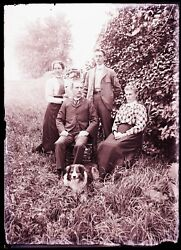 1 Late 1800s, Early 1900s Glass Negative, Two Couples And A Dog
