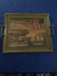 Rare Vintage Charles Wysocki Wood Serving Tray Wall Painting, Signed.