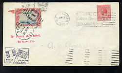 1929 Bahamas To Us Miami Us/mexican Ffc Roessler Dual Stamp Cover C11-z53