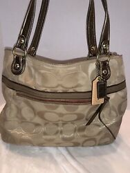 Coach Shoulder Bag Purse Tan And Gold Used $30.00