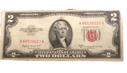 1953a 2 Two Dollar Note 2 Bill Red Seal Us Currency A 61675159 A In Holder