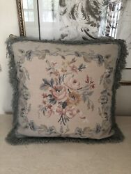 Chelsea Textiles London Floral Wool Tapestry Needlepoint Petit Point Pillow 20andrdquo
