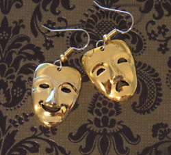 A Comedy And A Tragedy Masks Earrings Theater Actors Theatrical Gold / Sterling Pt