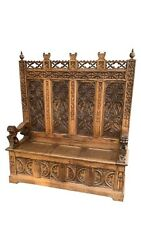 Captivating Antique French Gothic Bench. Heavily Carved Oak 1900and039s