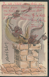 Vintage Halloween A. Stenberg Witches On Brooms Chimneyrare Pre1910 H17