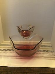 Vintage Anchor Hocking Cranberry Pink Glass Chip And Dip Bowls W/ Attachment
